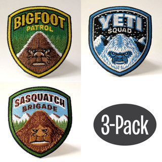 Bigfoot yeti sasquatch shield patch 3 pack large legacy square thumb