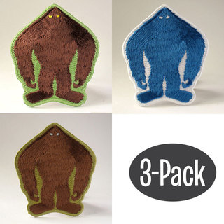 Bigfoot yeti sasquatch silhouette patch 3 pack large legacy square thumb