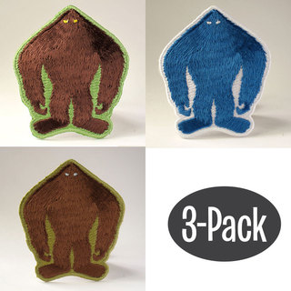 Bigfoot yeti sasquatch silhouette patch 3 pack legacy square thumb